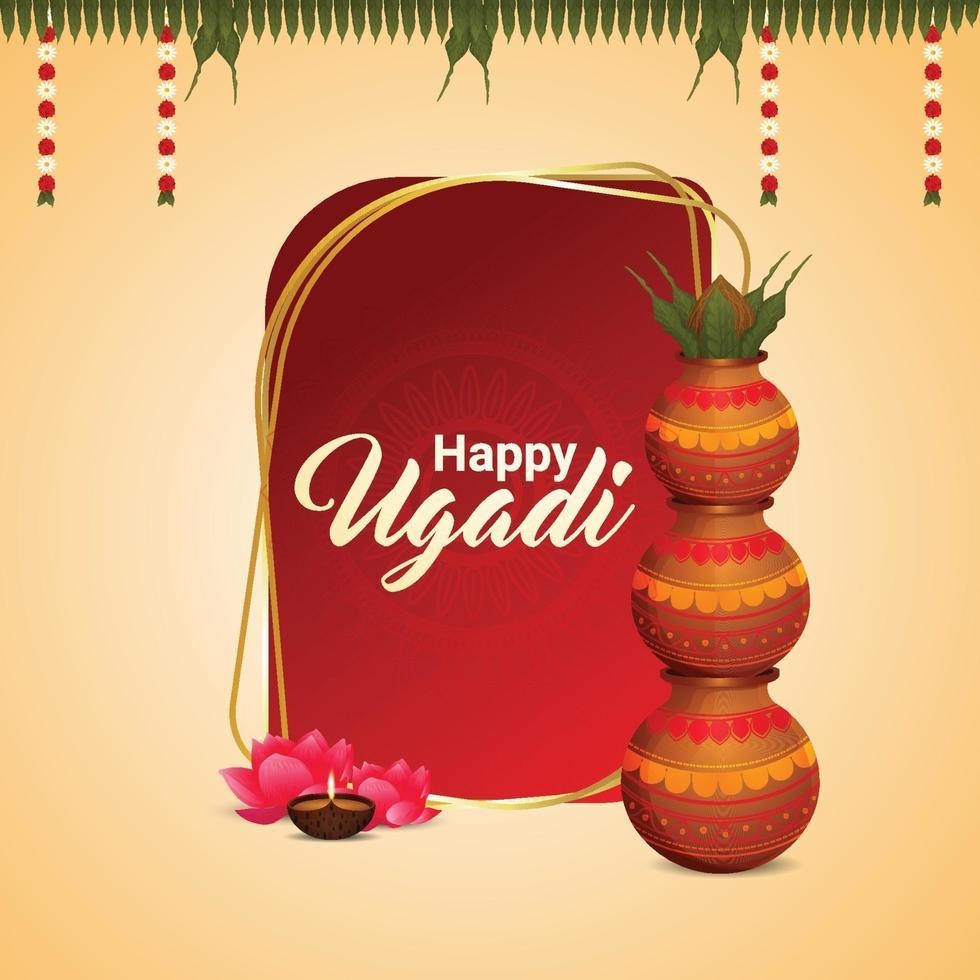 Happy Ugadi Kannada Neujahrsfeier mit Kalash vektor