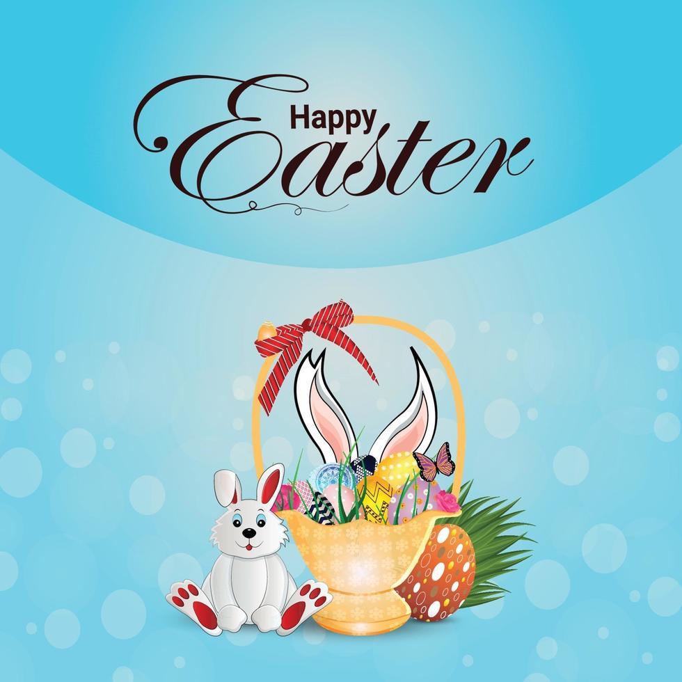 glücklicher Osterfeierhintergrund mit Ostereiern und Osterhase vektor