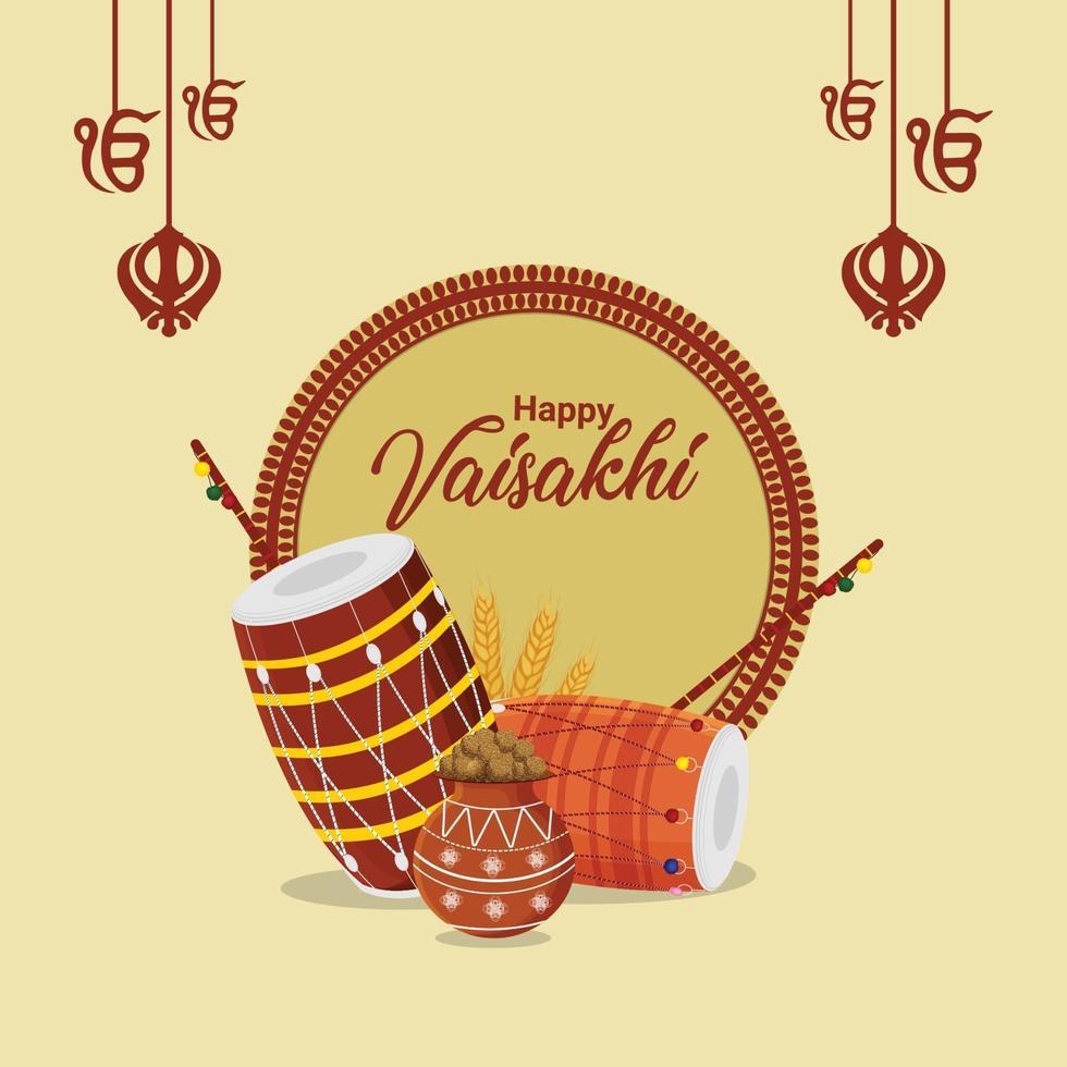 flache Vektorillustration des glücklichen Vaisakhi-Hintergrunds vektor