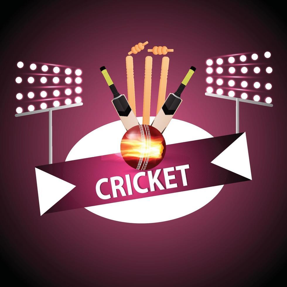 Cricket-Meisterschaftshintergrund mit Helm und goldener Trophäe vektor