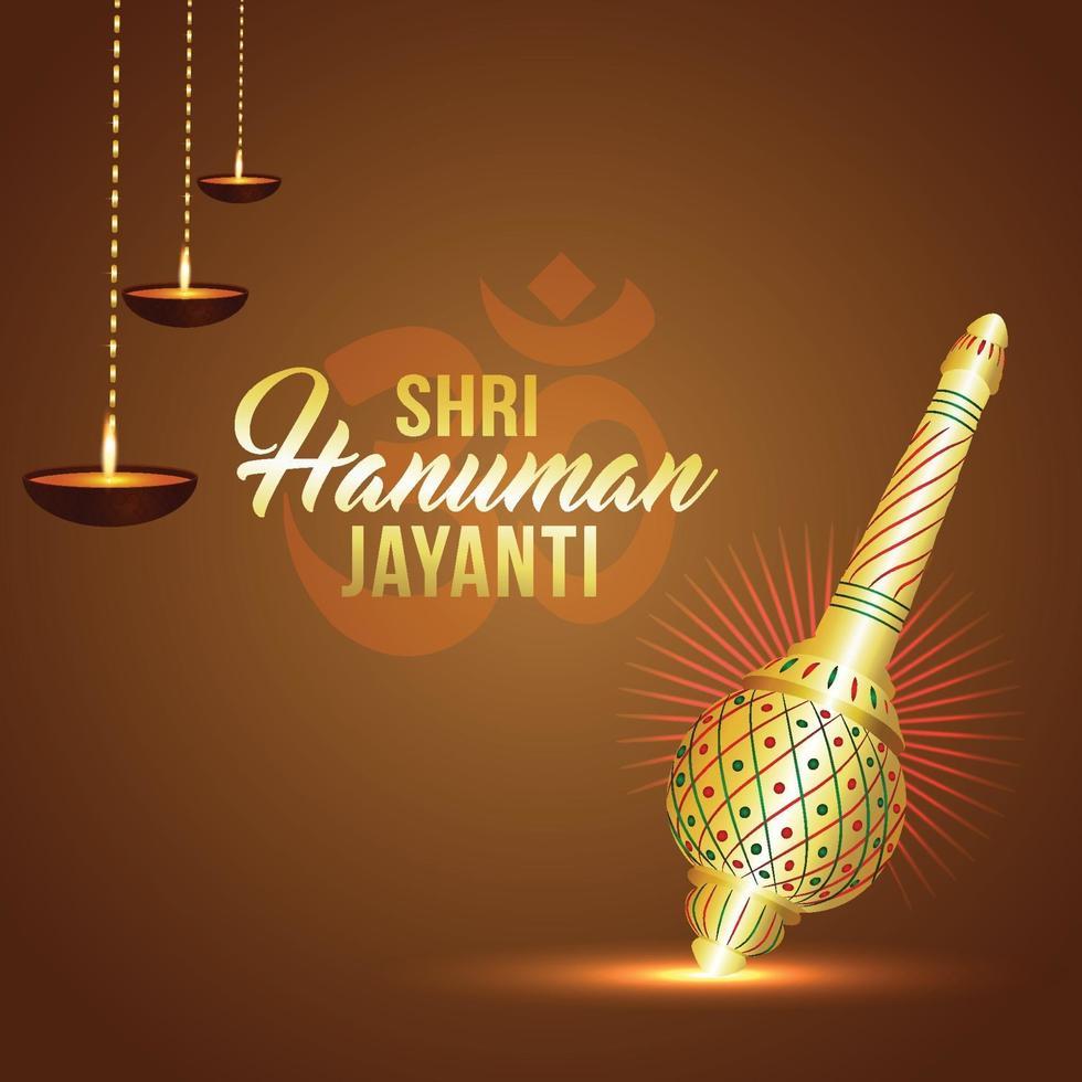 shri hanuman jayanti bakgrund med lord hanuman vapen vektor