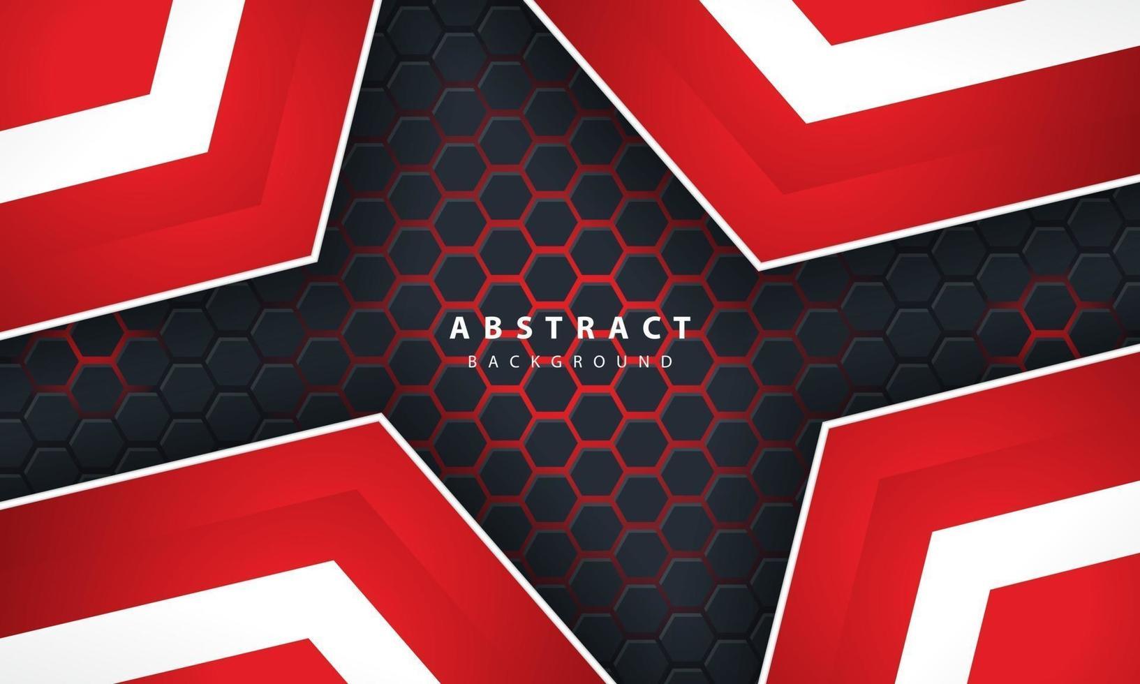 Sechseckiger Hintergrund des abstrakten roten Lichts 3d mit roten und weißen Rahmenformen. vektor