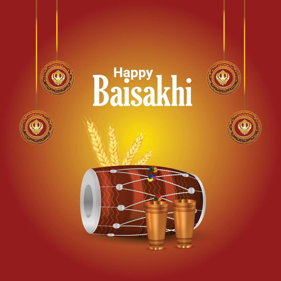 sikh festival av lycklig vaisakhi firande bakgrund vektor