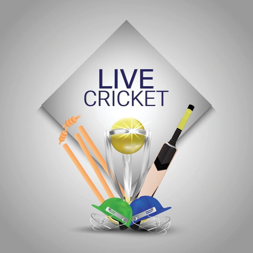 live cricket-mästerskap med grind med gyllene trofé och hjälm vektor