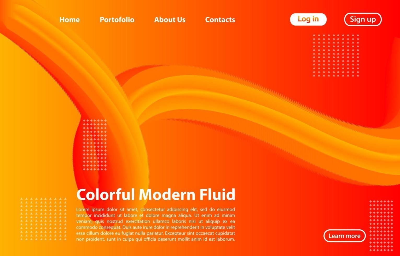 3d abstrakt flytande form med lutning. Landningssidabegrepp i orange färg. abstrakt orange färg geometriska former bakgrund. vektor