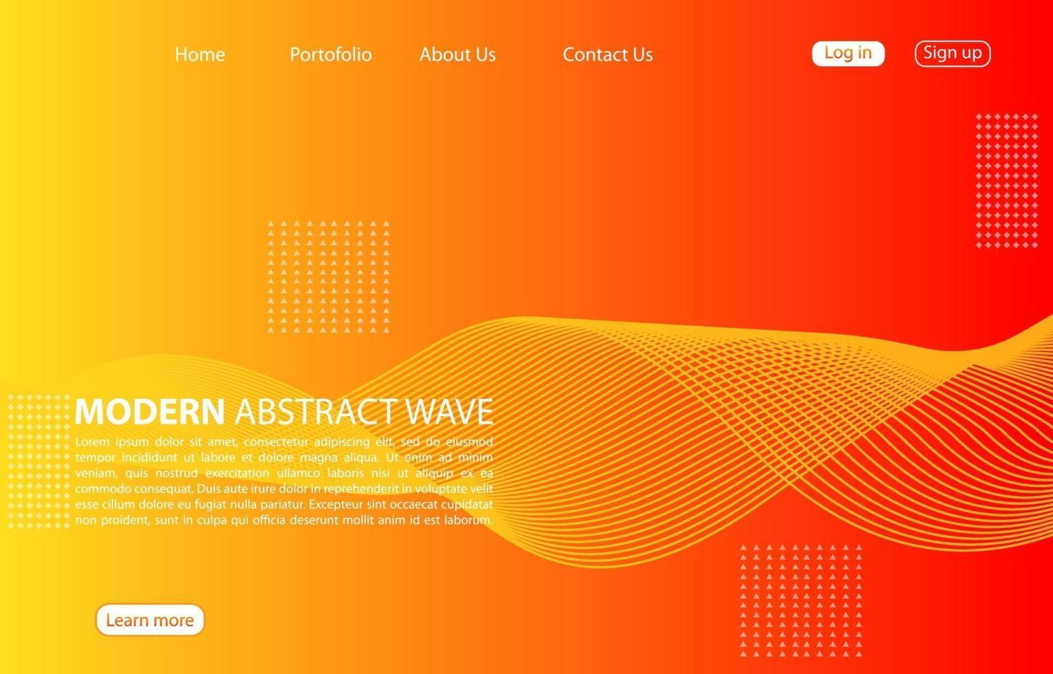 modern abstrakt vågbakgrund. landningssida abstrakt vågdesign. orange bakgrund. vektor