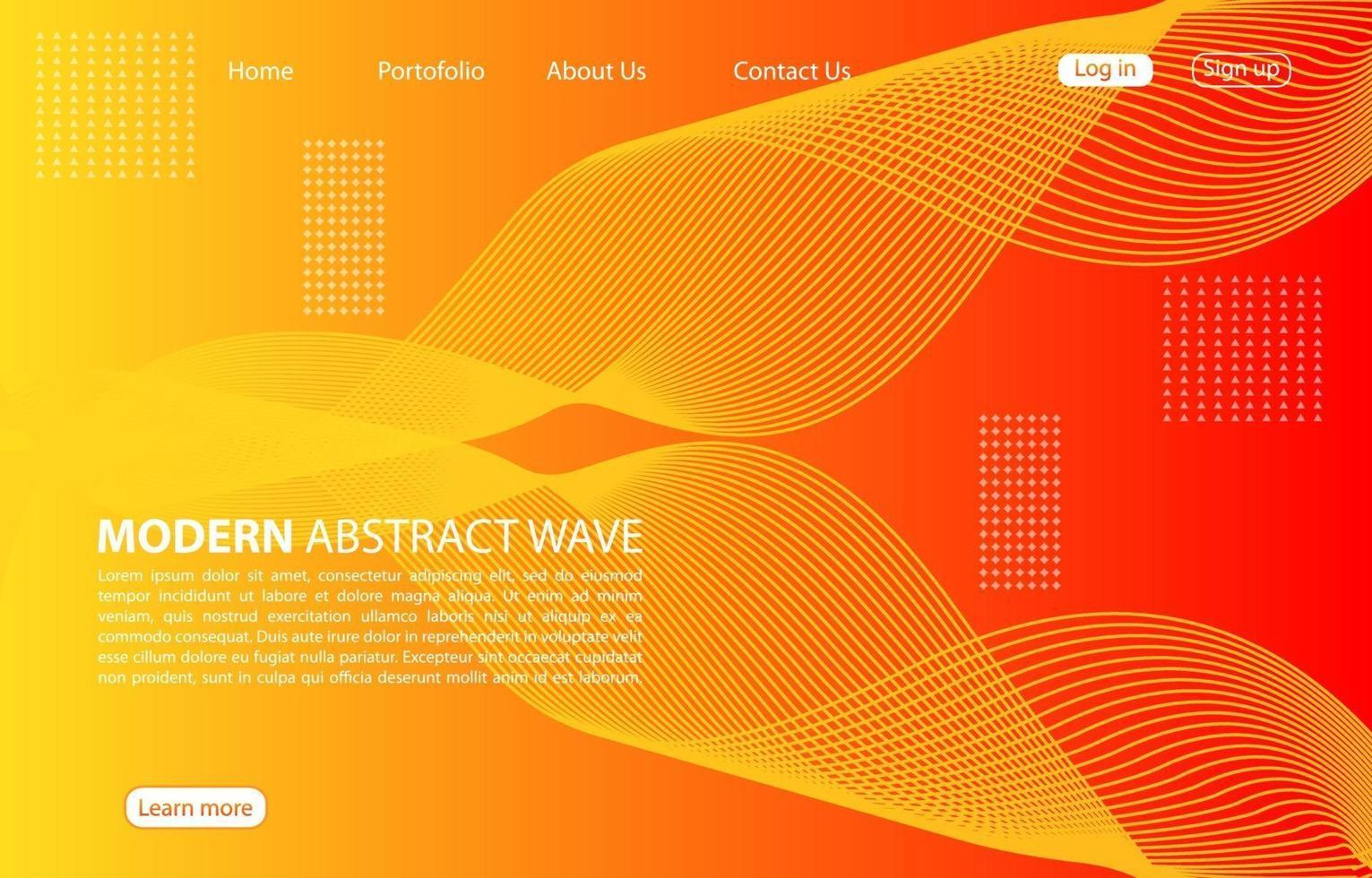 moderne abstrakte Welle background.landing page abstrakte Welle Design. orange Hintergrund. vektor