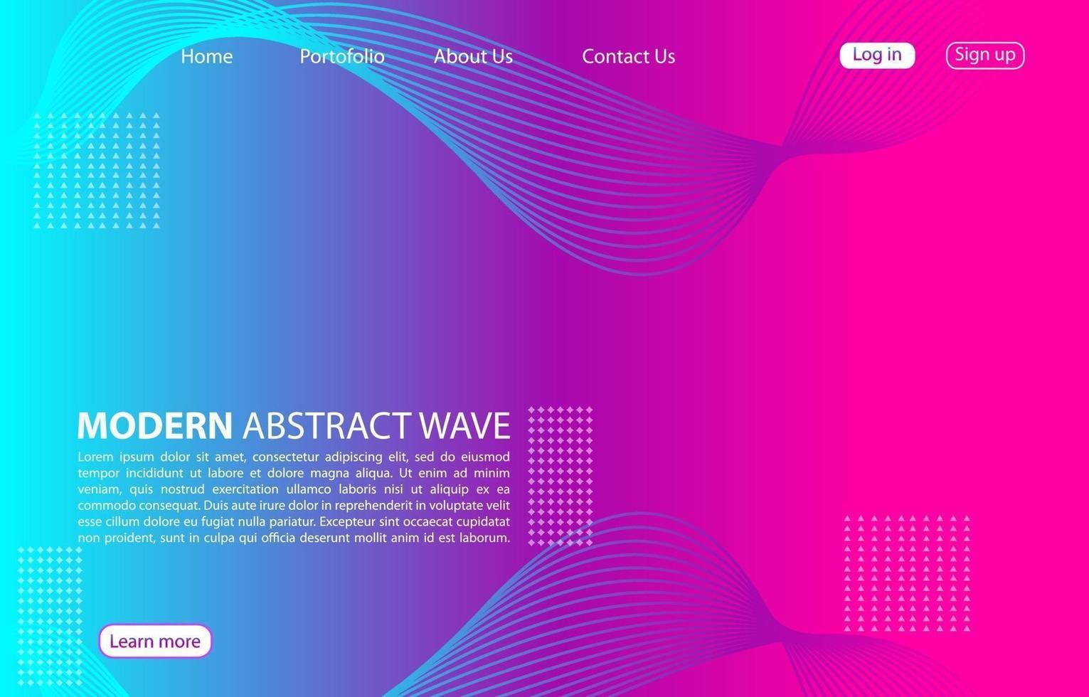 färgglad modern abstrakt vågbakgrund. landningssida abstrakt vågdesign. lila färgbakgrund. vektor