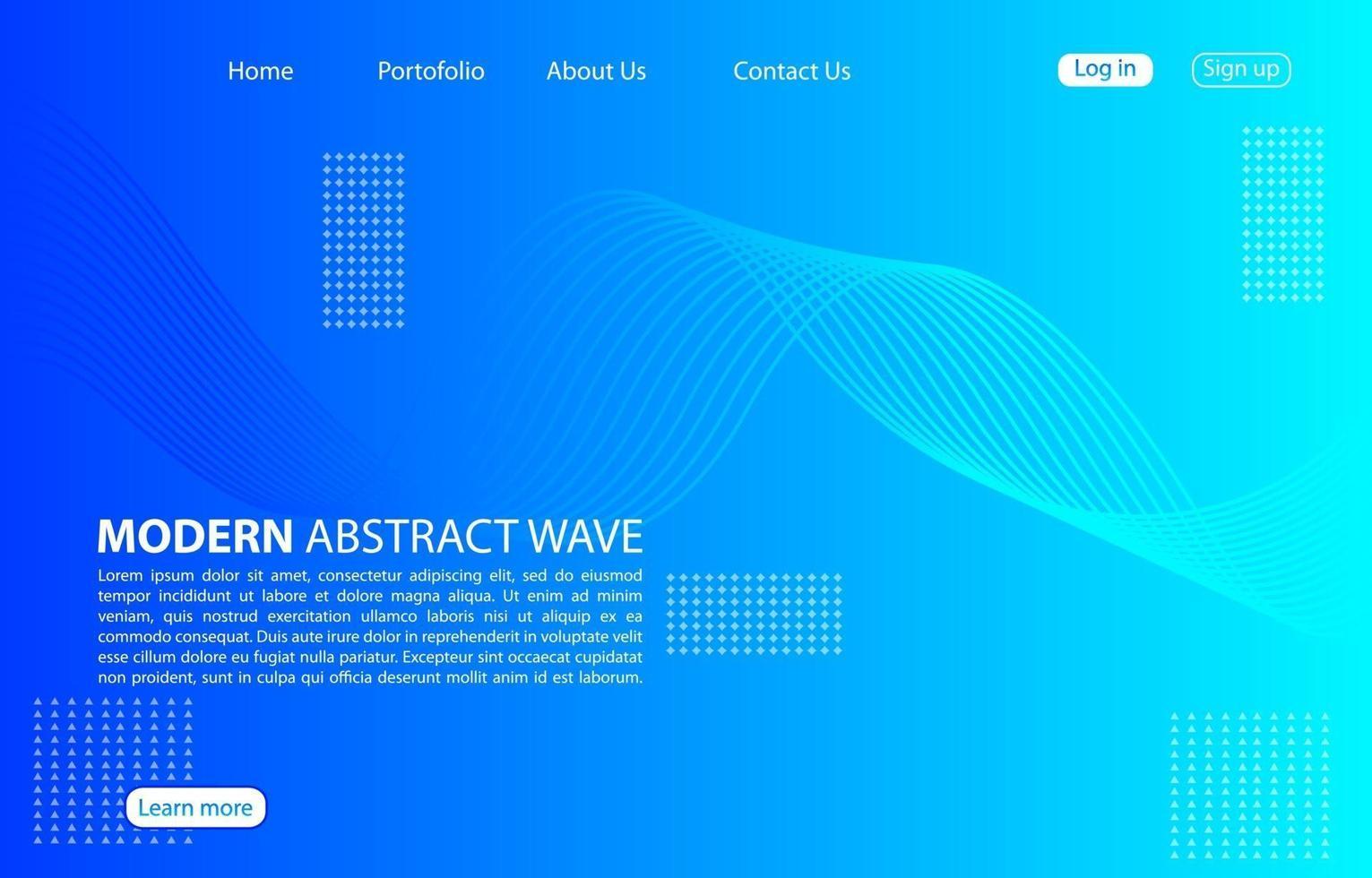 moderne abstrakte Welle background.landing page abstrakte Welle design.blue Vorlage Apps und Websites. vektor