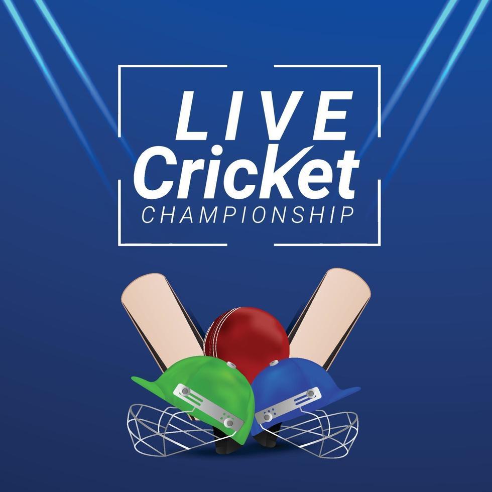 live cricket med stadion bakgrund med cricket utrustning vektor