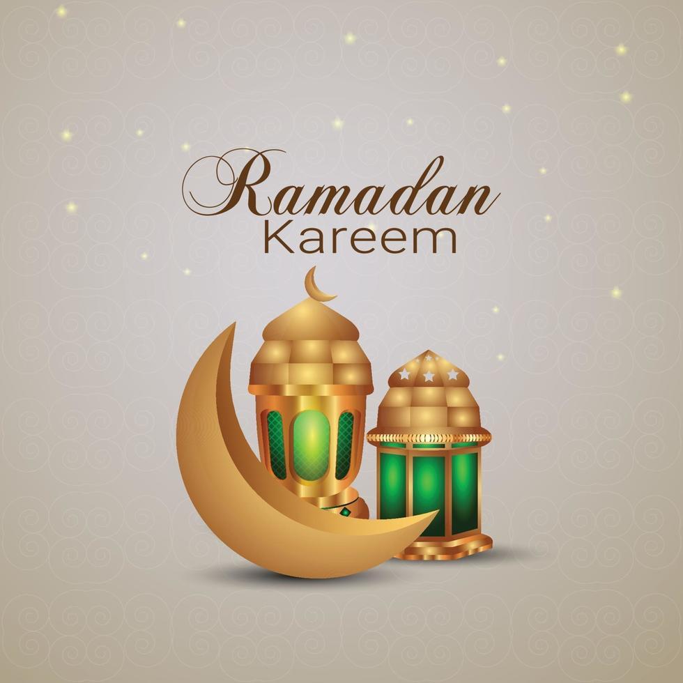 Ramadan Kareem goldener Mond und goldene Laterne vektor