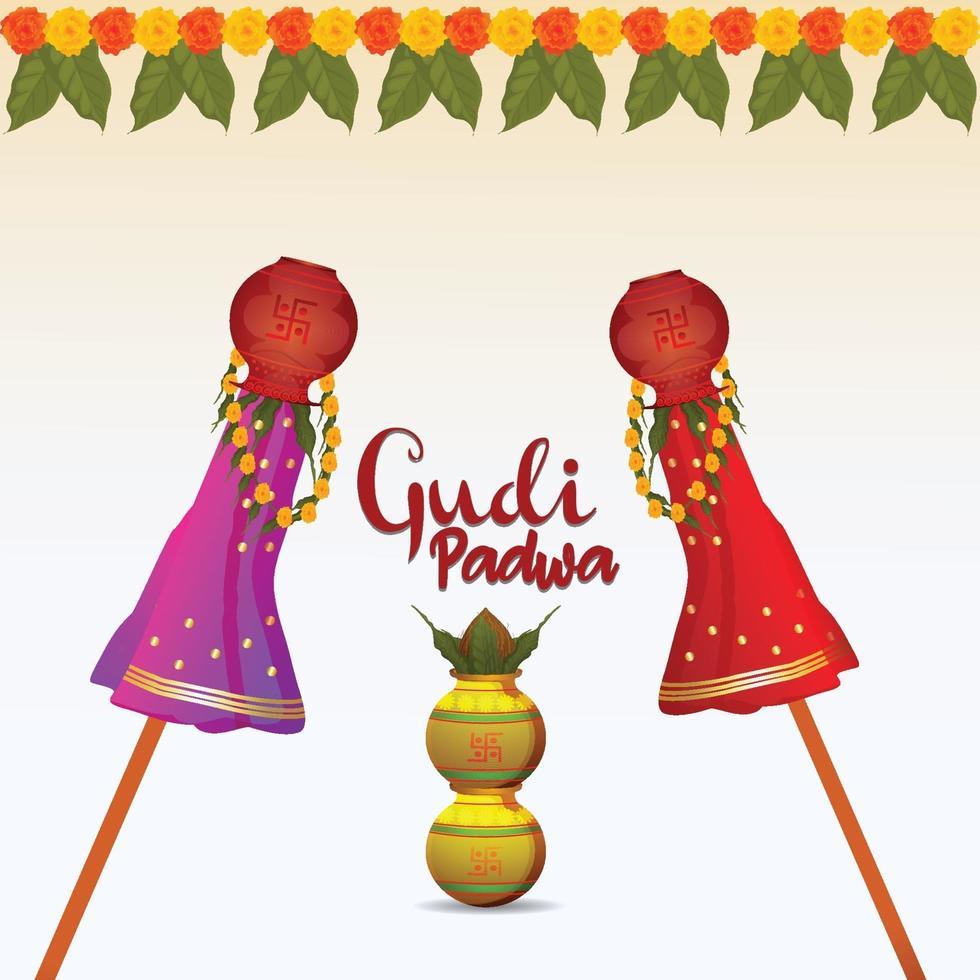 kreativ vektorillustration av glad gudipadwa indisk hinduisk festival och bakgrund vektor