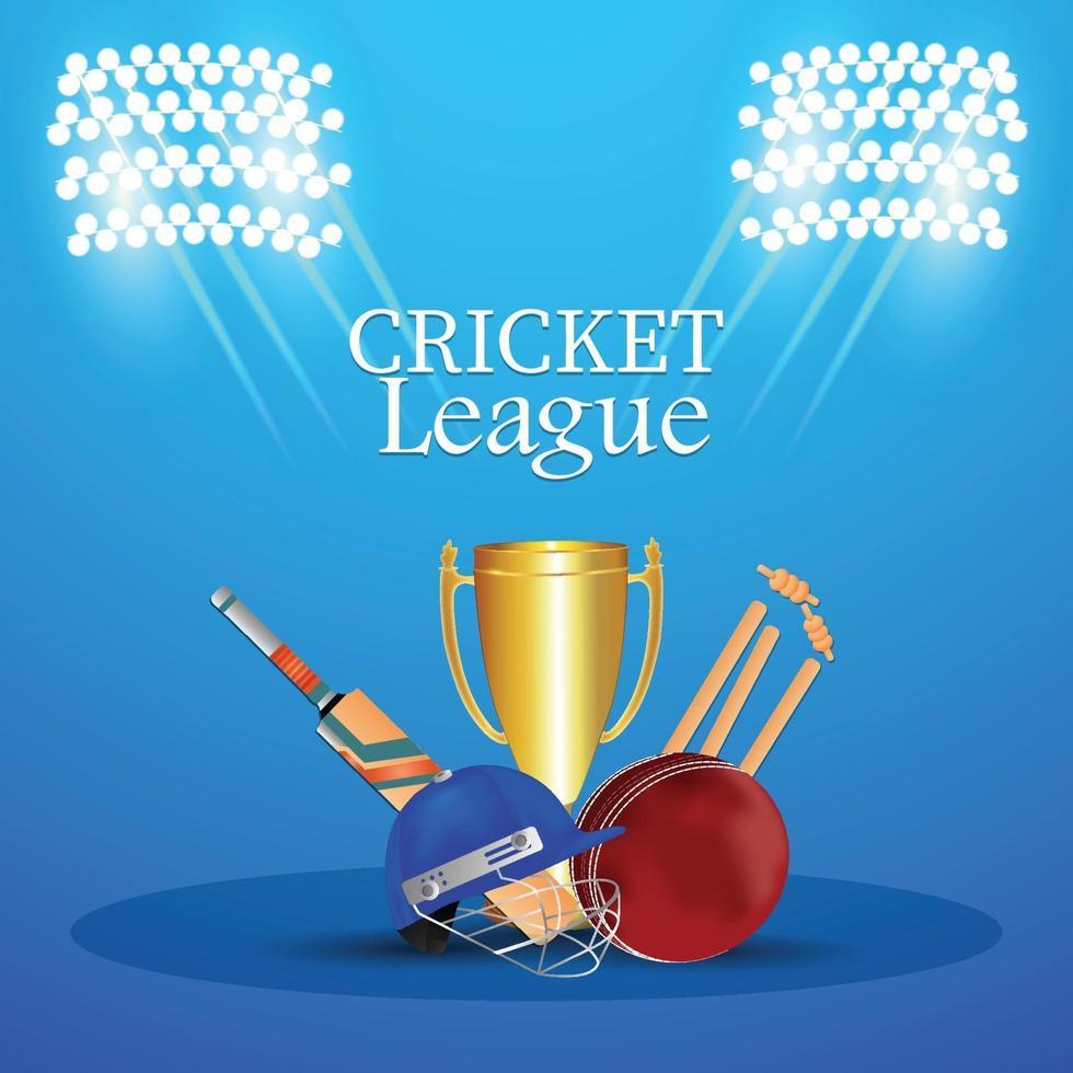 Cricket-Meisterschaftsturnier Match mit Cricket-Ausrüstung vektor