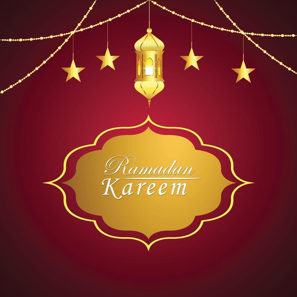 platt designkoncept av ramadan kareem och bakgrund islamisk festival vektor