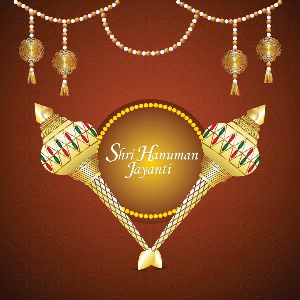 Hanuman Jayanti kreativen Lord Hanuman Waffe und Blume vektor