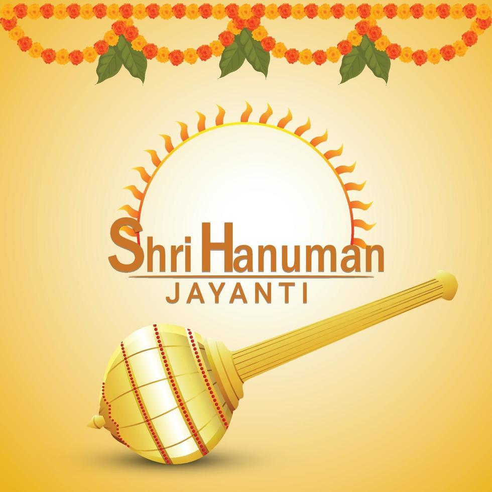 hanuman jayanti creative lord hanuman vapen och blomma vektor