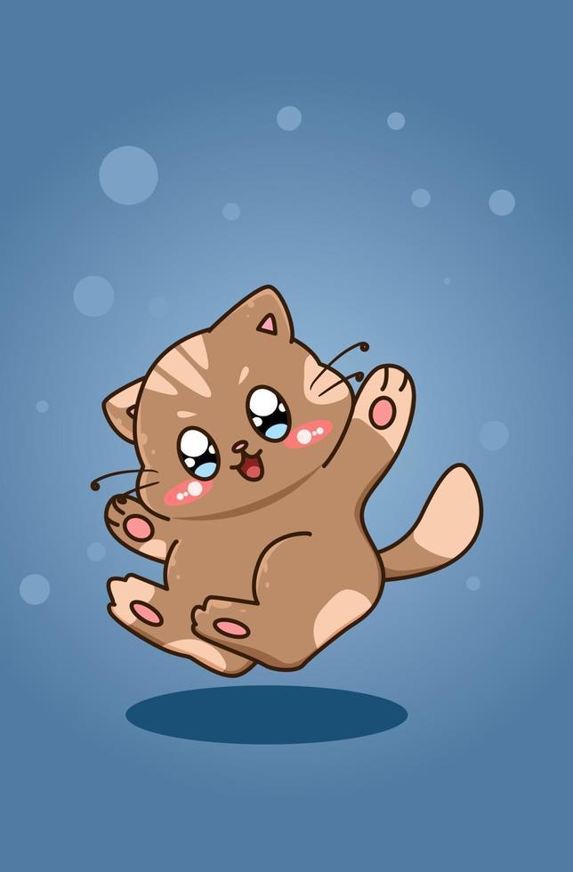 söt och glad katt design karaktär djur tecknad vektor