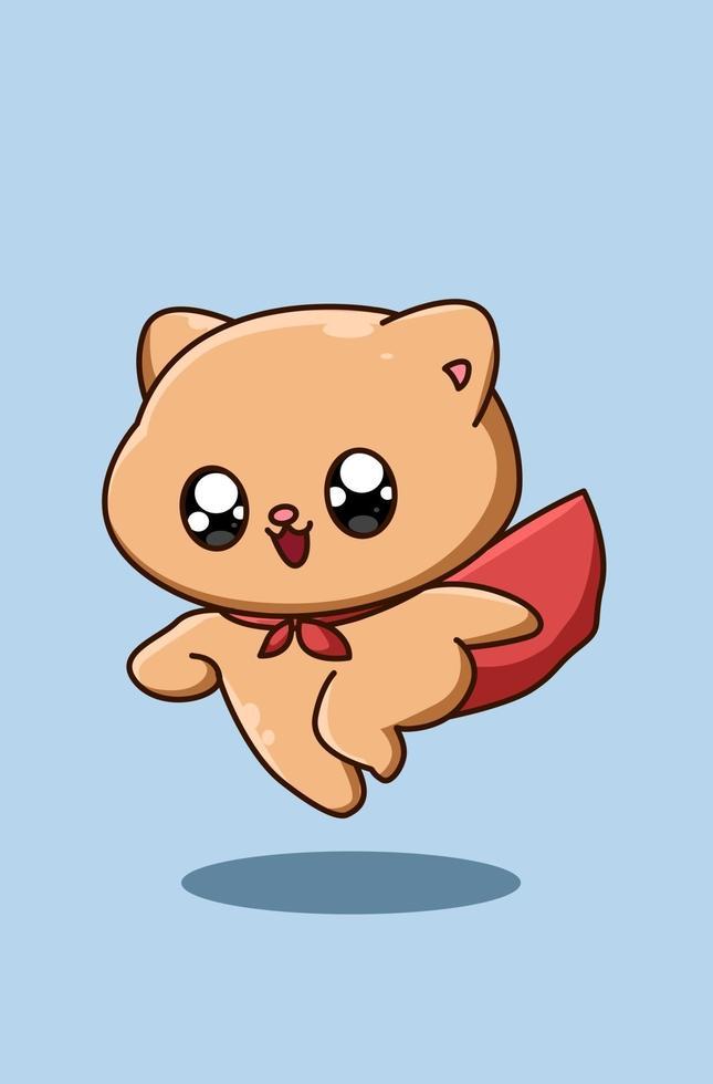söt och glad hjälte baby katt djur kartong illustration vektor