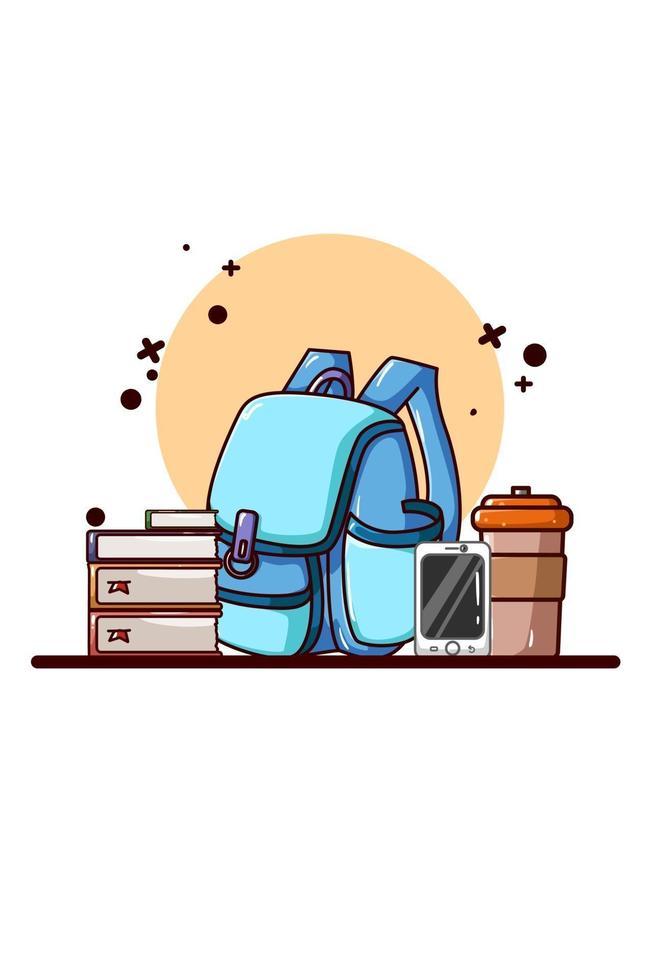 Bücher und Rucksack Symbol Cartoon Illustration vektor