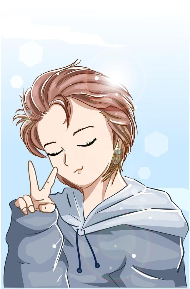 süßer Junge mit braunem Haar und blauer Jackenkarikaturillustration vektor