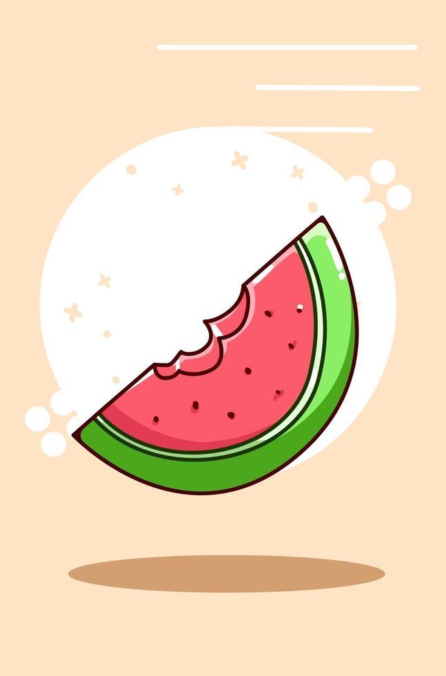 vattenmelon bit ikon tecknad illustration vektor