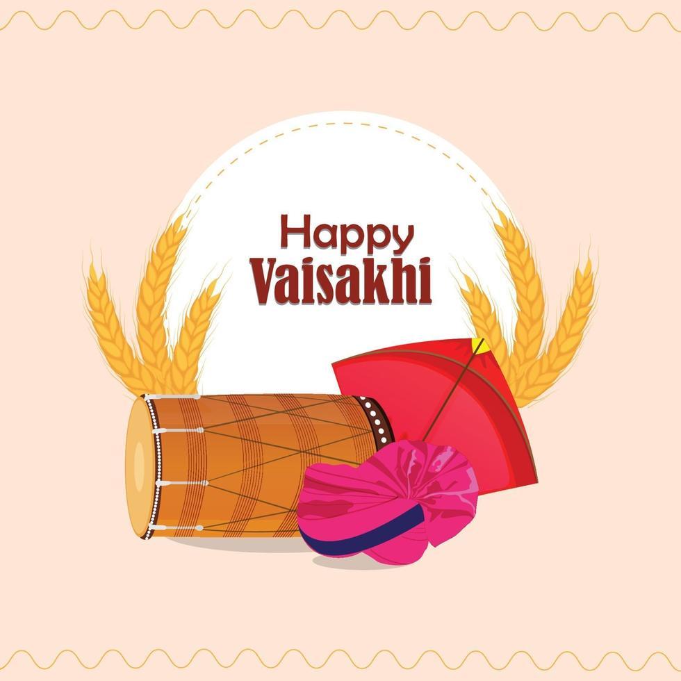 lyckligt baisakhi platt designkoncept med dhol och vete vektor