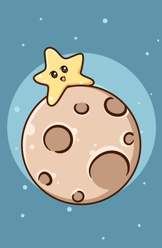süßer lustiger kleiner Stern auf Mond vektor