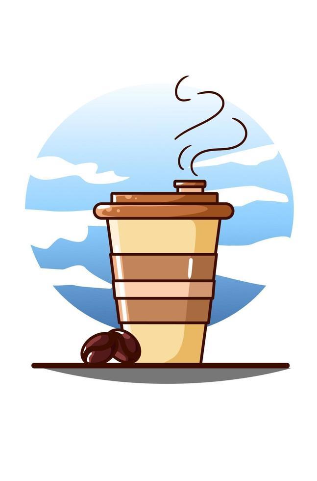 kaffe ikon tecknad illustration vektor