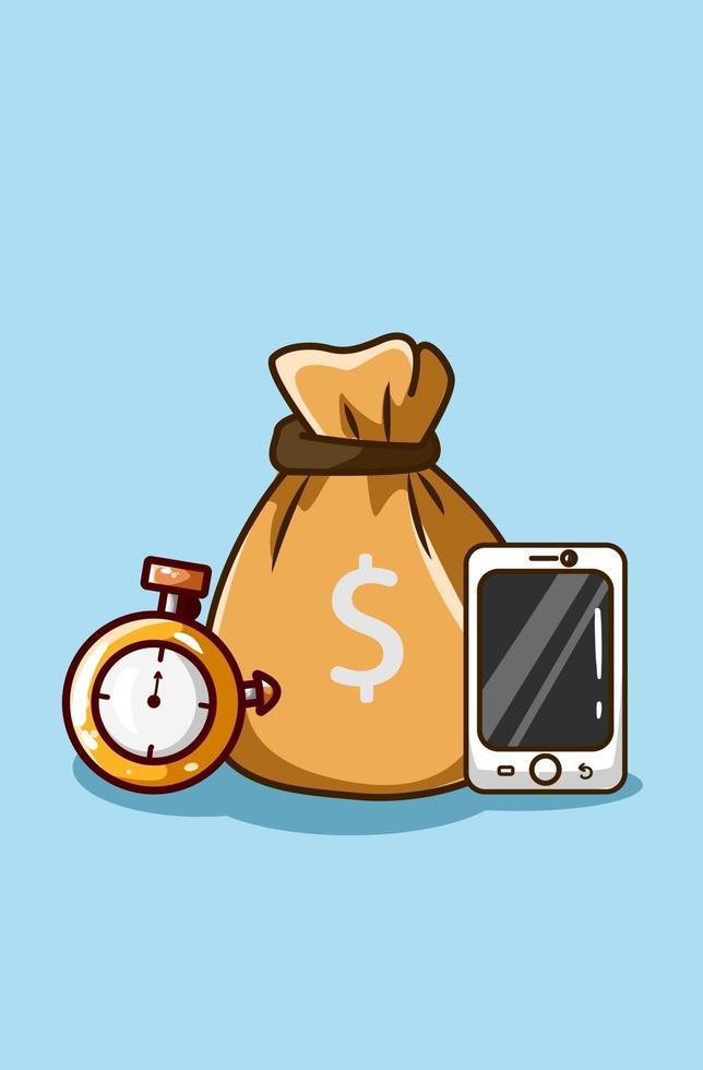 tid är pengar ikon tecknad illustration vektor