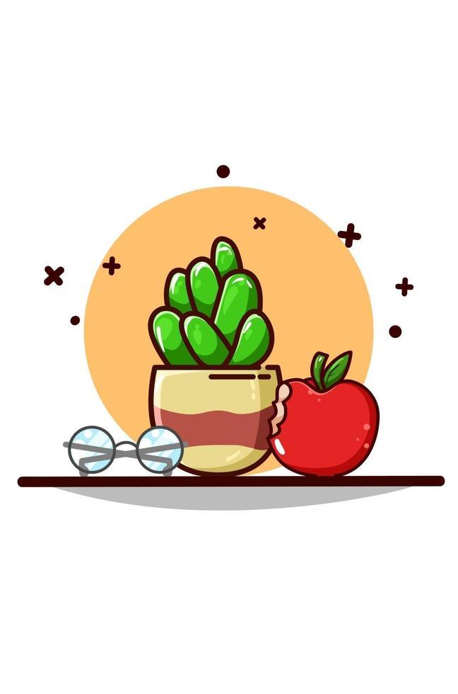 glasögon och apple ikon tecknad illustration vektor