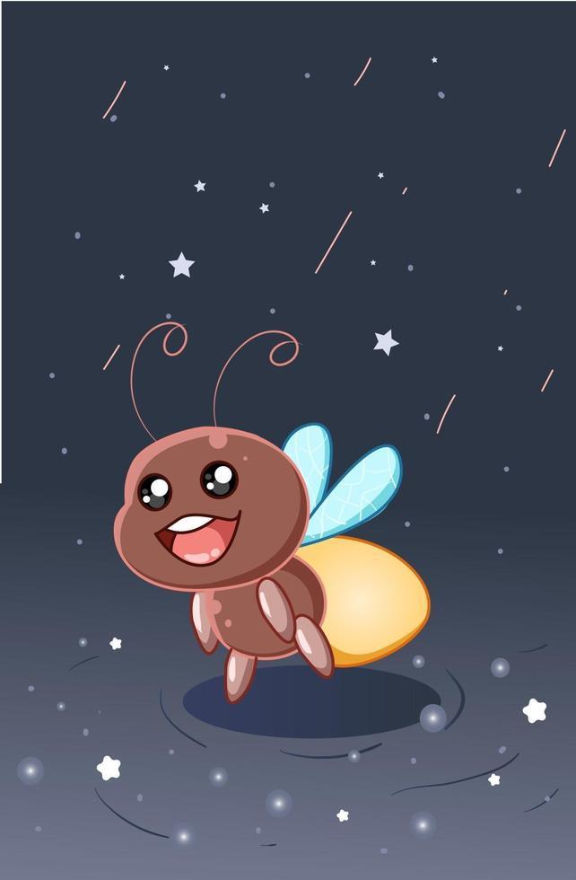 niedliche und glückliche Glühwürmchen in der Nachthimmelkarikaturillustration vektor
