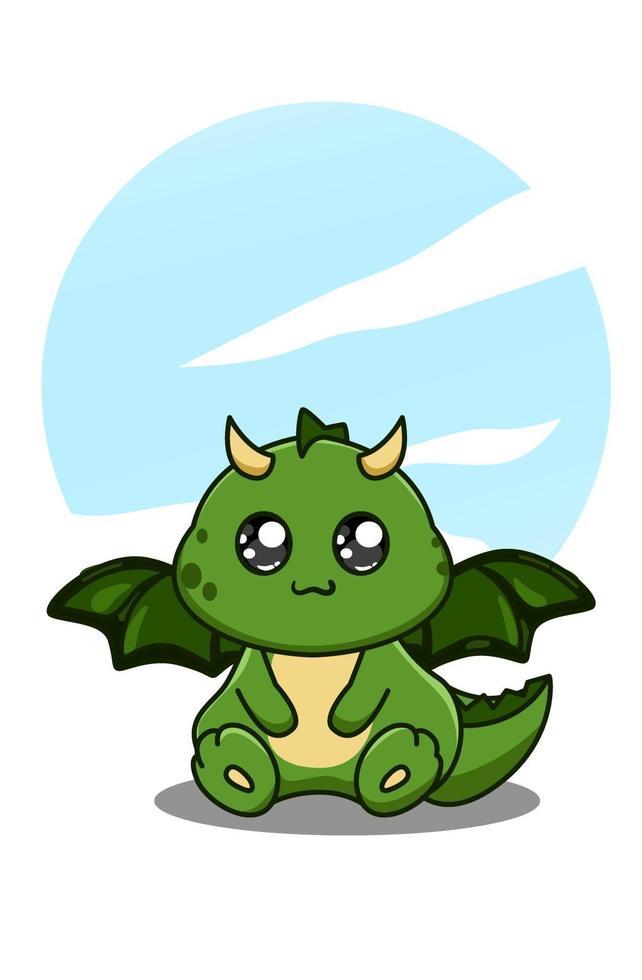 söt och glad baby dinosaurie tecknad illustration vektor