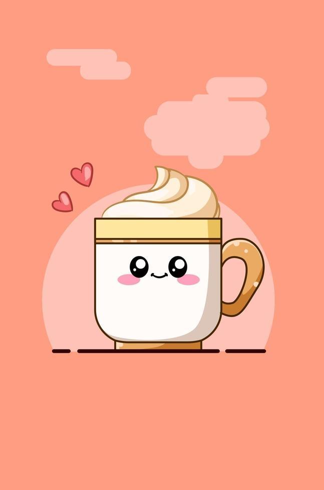 söt kopp med läsk tecknad illustration vektor