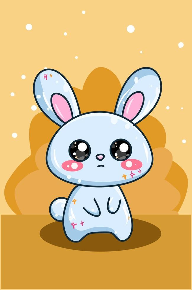 niedliche und glückliche babyblaue Kaninchenkarikaturillustration vektor