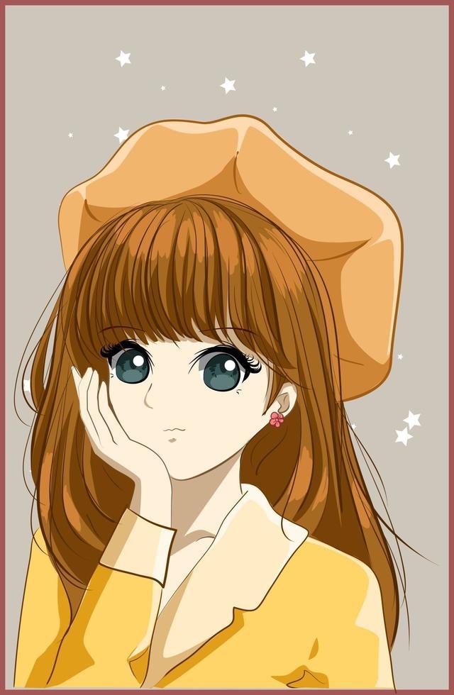 vacker och söt flicka med brunt långt hår med gul hatt vektor