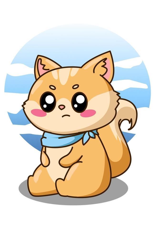 glad och rolig liten katt tecknad illustration vektor