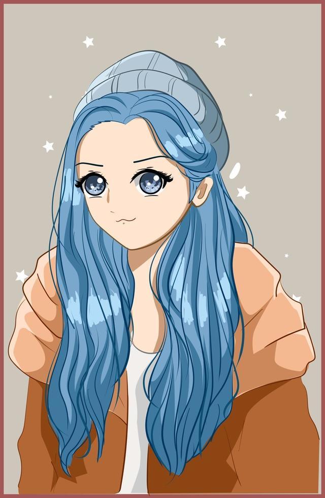 söt och vacker flicka med långt blått hår på vintern vektor