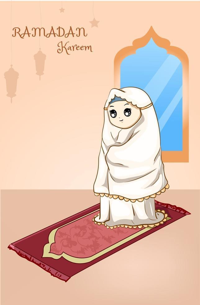 muslimisches Mädchen, das nachts Ramadan Kareem Karikaturillustration betet vektor
