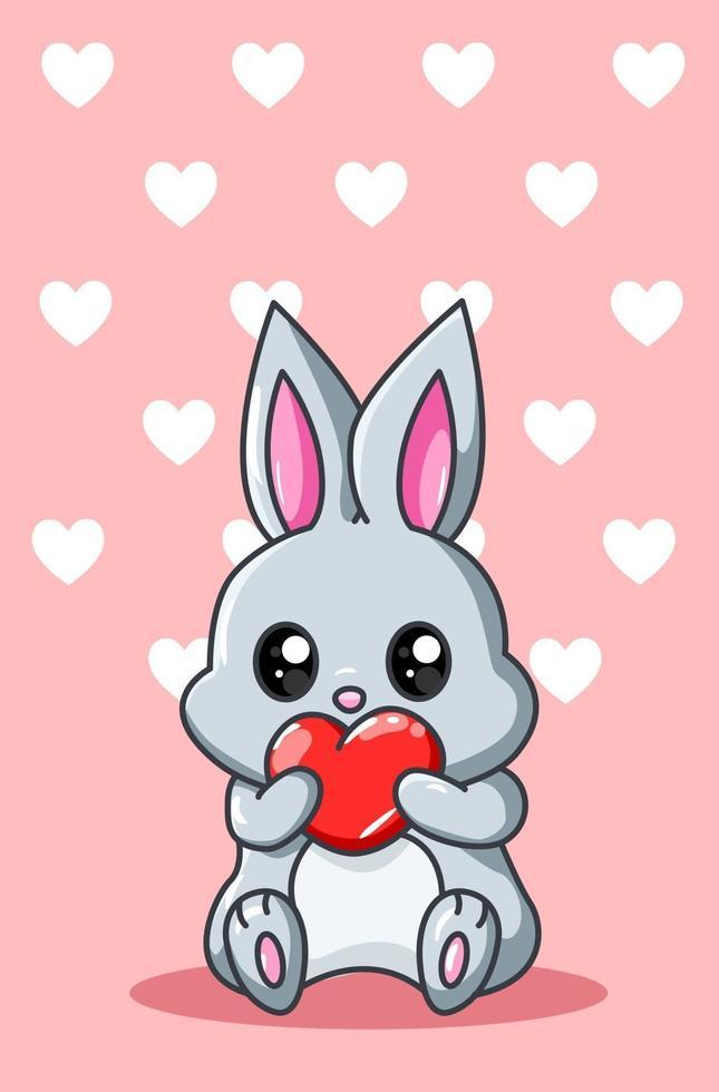 liten kanin med hjärtat kawaii tecknad illustration vektor
