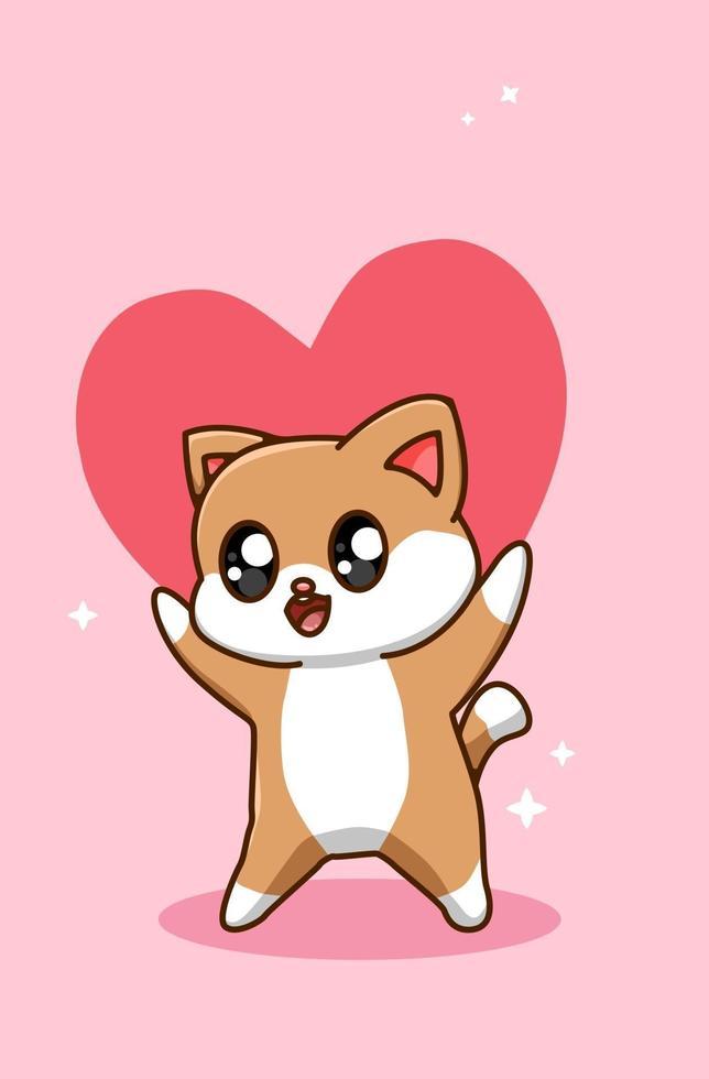 kawaii och rolig katt ger en stor valentins hjärta tecknad illustration vektor