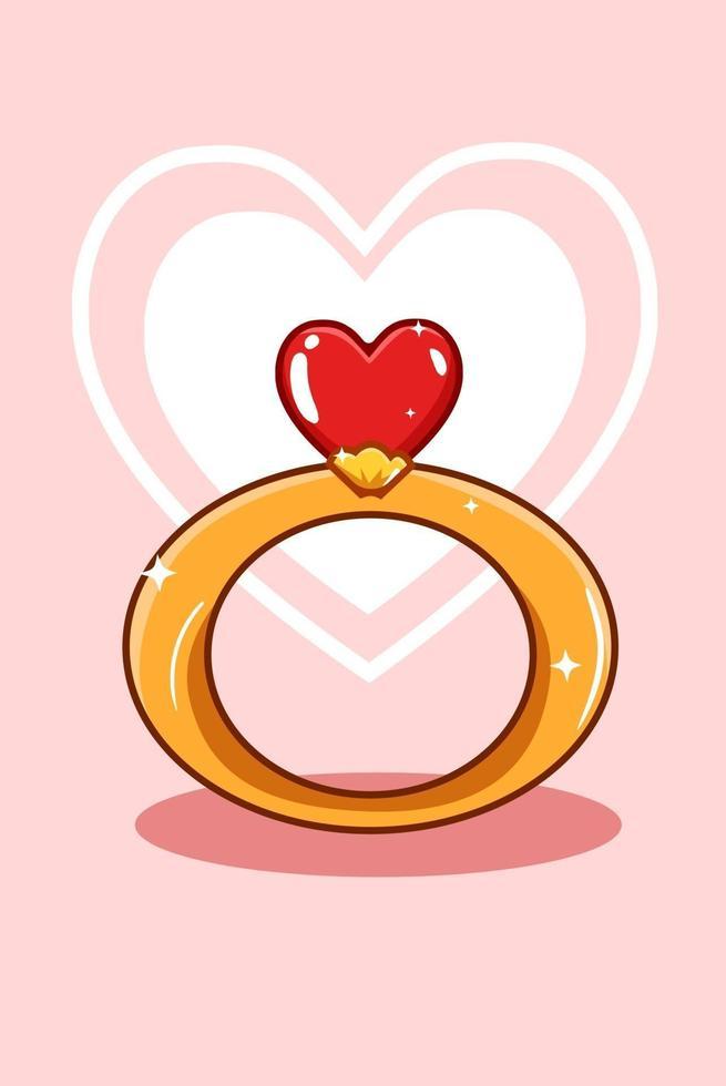 en ring med kärlek, diamantvalentintecknad illustration vektor