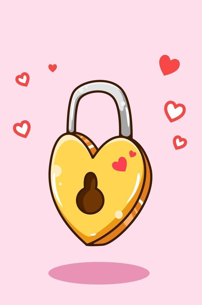 Liebe Vorhängeschloss in Valentinstag Cartoon Illustration vektor