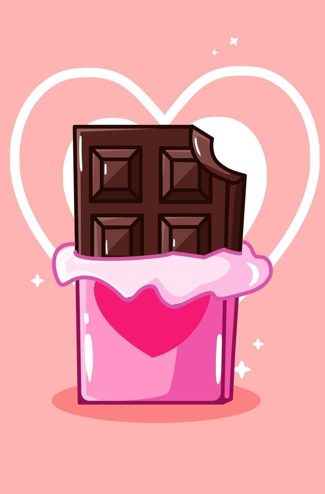 süße Schokolade in der Karikaturillustration des Valentinstags vektor