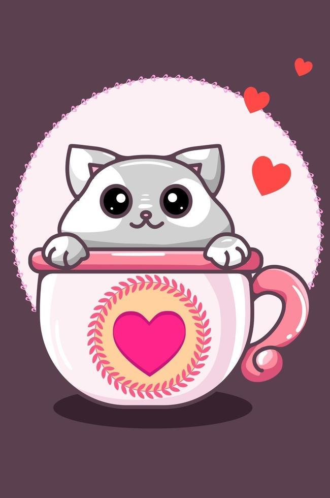 kawaii katt i koppen i alla hjärtans dag tecknad illustration vektor