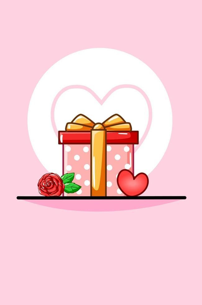 Alla hjärtans dag gåva, ros och hjärta tecknad illustration vektor