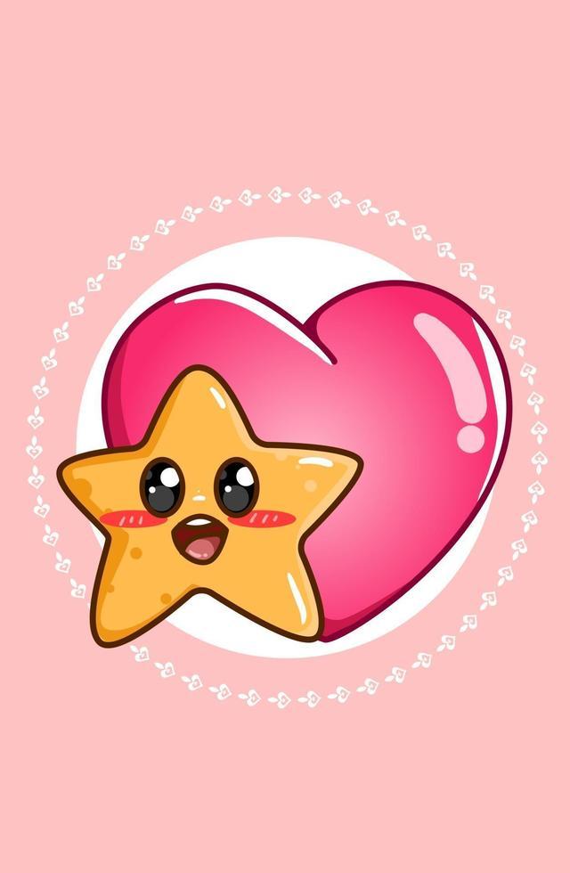 kawaii och glad stjärna med stort hjärta valentins tecknad illustration vektor