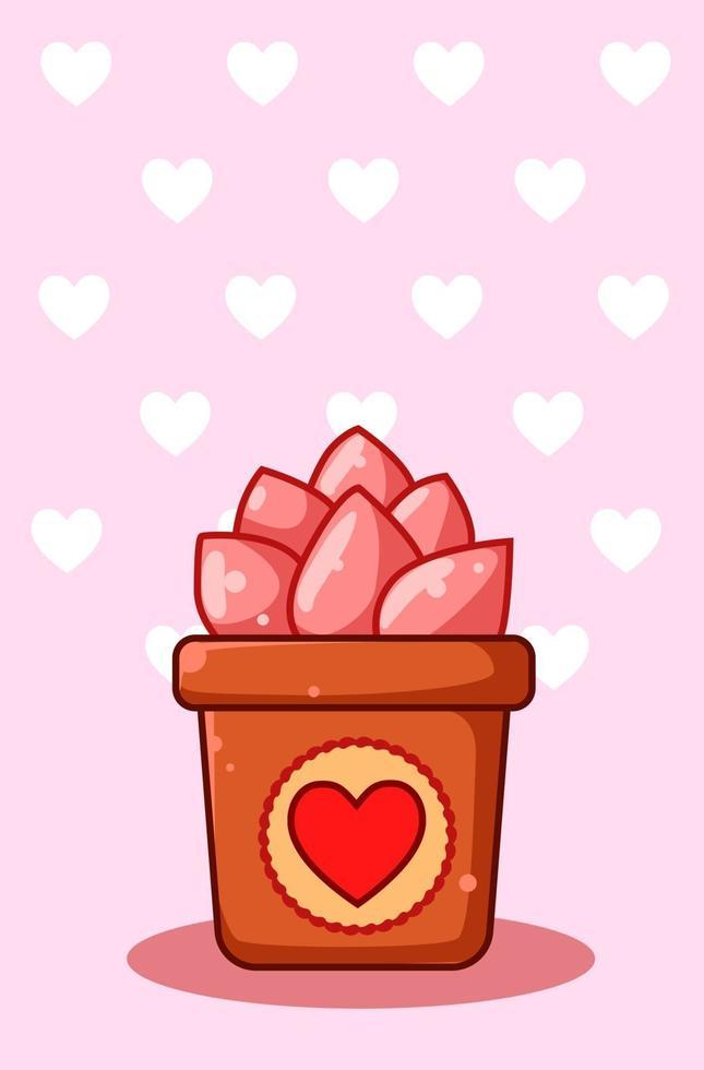 tecknad illustration av rosa prydnadsväxter på alla hjärtans dag vektor