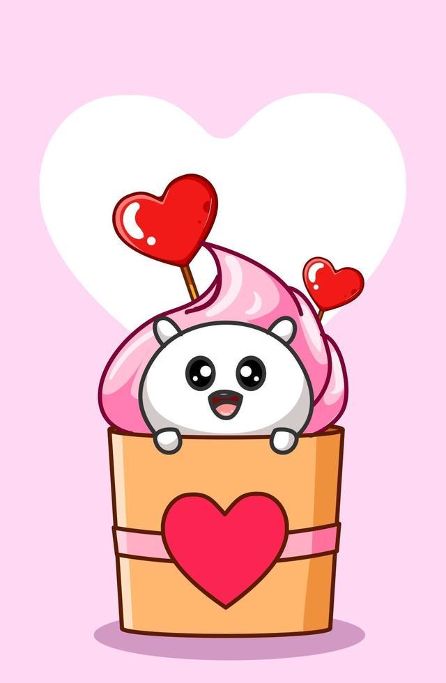 en söt hamster i cupcake godis tecknad illustration vektor