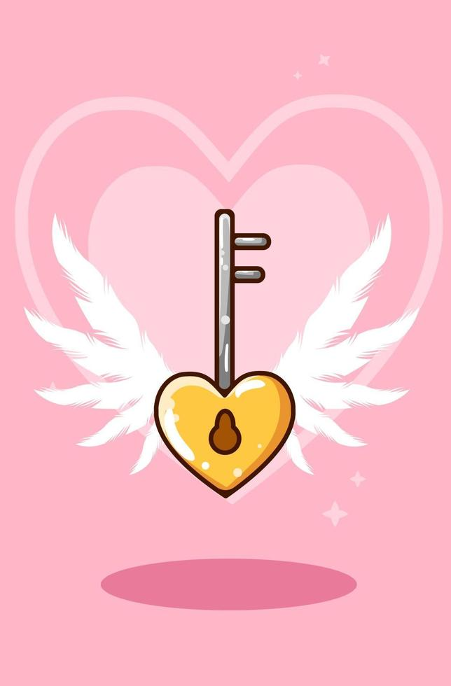tecknad illustration av hjärtformade nyckelring vektor