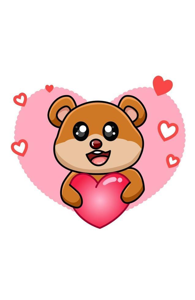 glad och söt babybjörn som kramar en stor hjärta tecknad illustration vektor